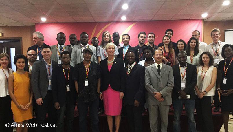 Délégation de startups canadiennes, francaises et africaines, lors de l'Africa Web Festival 2016.